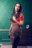 Fashionable woman in vintage room — Stock Photo