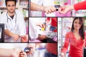 Collage with customer paying in pharmacy — Stock Photo