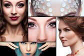 Collage of fashion make up images — Stock Photo