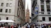 Trinity Church as view from Wall Street  — Stock Photo