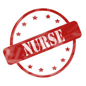 Red Weathered Nurse Stamp Circle and Stars — Stock Photo