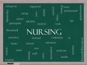 Nursing Word Cloud Concept on a Blackboard — Stock Photo