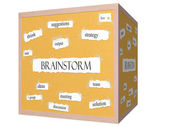 Brainstorm 3D cube Corkboard Word Concept — Stock Photo