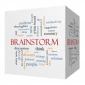 Brainstorm 3D cube Word Cloud Concept — Stock Photo