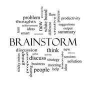 Brainstorm Word Cloud Concept in black and white — Stockfoto