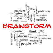 Brainstorm Word Cloud Concept in red caps — Stockfoto