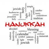 Hanukkah Word Cloud Concept in red caps — Стоковое фото