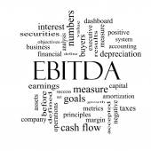EBITDA Word Cloud Black and White Concept — Zdjęcie stockowe