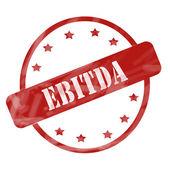 Red Weathered EBITDA Stamp Circle and Stars — Stock Photo