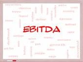 EBITDA Word Cloud Concept on a Whiteboard — Stock Photo
