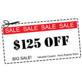 One hundred twenty five dollars Off Big Sale Coupon — Stock Photo