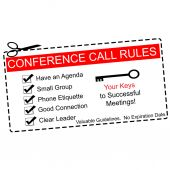 Red Conference Call Rules Coupon — Stock Photo