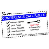 Blue Conference Call Rules Coupon — Stock Photo