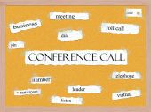 Conference Call Corkboard Word Concept — Stock Photo