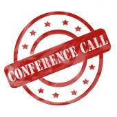Red Weathered Conference Call Stamp Circles and Stars — Stock Photo