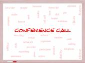 Conference Call Word Cloud Concept on a Whiteboard — Stock Photo