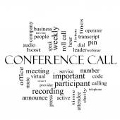 Conference Call Word Cloud Concept in black and white — Stock Photo