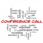 Conference Call Word Cloud Concept in red caps — Stock Photo
