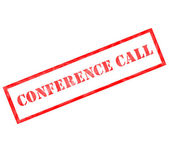 Conference Call Grunge Red Stamp — Stock Photo