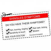 Shingles Symptoms See Your Doctor red coupon — Stock Photo
