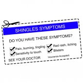 Shingles Symptoms See Your Doctor blue coupon — Stock Photo