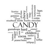 Candy Word Cloud Concept in black and white — Stock Photo