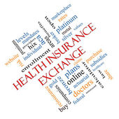 Health Insurance Exchange Word Cloud Concept Angled — Stock Photo