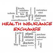Health Insurance Exchange Word Cloud Concept in red caps — Stock Photo