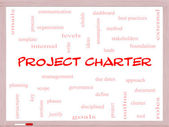 Project Charter Word Cloud Concept on a Whiteboard — Stock Photo