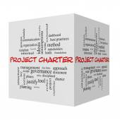 Project Charter 3D cube Word Cloud Concept in red caps — Stock Photo