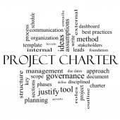 Projektet Charter ordet Cloud koncept i svart och vitt — Stockfoto