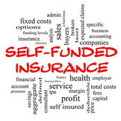 Self Funded Insurance Word Cloud in red caps — Stock Photo