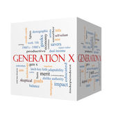 Generation X 3D cube Word Cloud Concept — Stock Photo