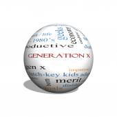 Generation X 3D sphere Word Cloud Concept — Stock Photo