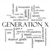 Generation X Word Cloud Concept in black and white — Stock Photo