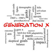 Generation X Word Cloud Concept in red caps — Stock Photo