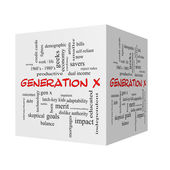 Generation X 3D cube Word Cloud Concept in red caps — Stock Photo