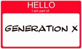 Hello I am part of  Generation X red name tag sticker — Stock Photo