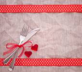 Cutlery on tablecloth view from top. — Stock Photo