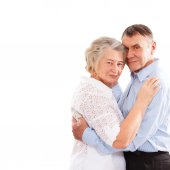 Happy and smiling senior couple in love isolated — Stock Photo