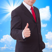 Businessman showing perfect gesture. Hand sign excellent, good, great, okay, yes. — Stock Photo