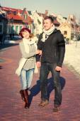 Young couple walking around city in winter. — Stock Photo