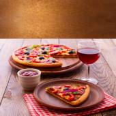 Pizza with tomato, salami and olives — Stock Photo