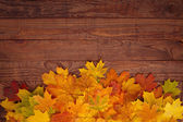 Autumn leaves on wooden table. — Stock Photo