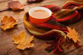 Autumn leaves, book and cup of tea on wooden table in studio — Stock Photo