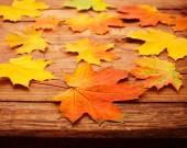 Podzimní listí na dřevěný stůl. — Stock fotografie