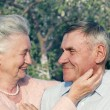 Happy and smiling senior couple. Elderly couple walking. — Stock Photo #57006407