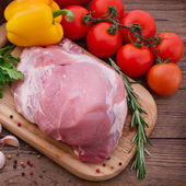 Food sliced pieces of raw Meat for barbecue with fresh Vegetables and Mushrooms on wooden surface. — Stock Photo