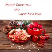 Christmas cookies handmade lies on wooden background. — Stockfoto