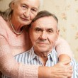Portrait of smiling elderly couple Old people holding hands. Senior man, woman. — Stock Photo #58718647